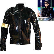 Punk MJ Michael Jackson Black Military Cool Leather Jacket Outerwear for Collect