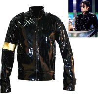 Punk MJ Michael Jackson Black Military Cool Leather Jacket Outerwear for Collection Halloween Supprise Gift