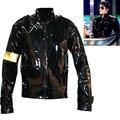 Punk MJ Michael Jackson Preto Militar Legal Jaqueta De Couro Casacos para Coleção Halloween Presente Supprise