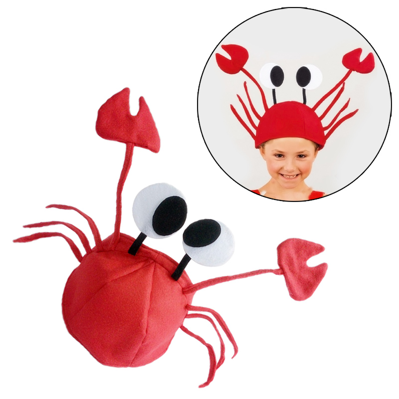 cute crab hat cap party halloween christmas funny decoration cosplay costume props for girl kids children - Costume Props