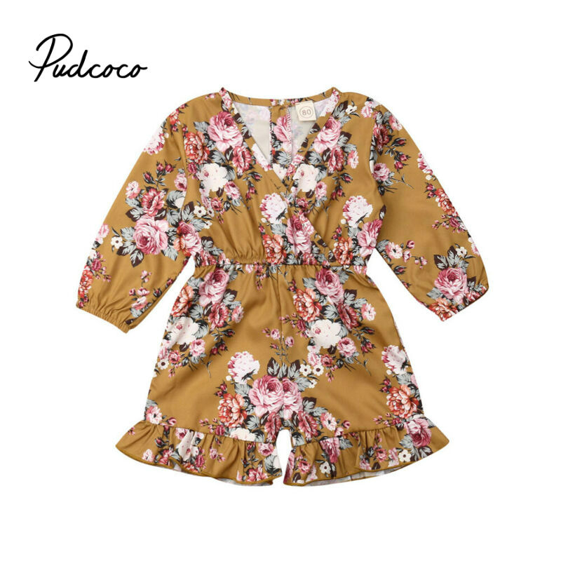 2019 New Boho Style Baby Clothes Girls Summer Strap Rompers Flower Print Toddler Jumpsuits Kids Long Sleeve Overalls Playsuit