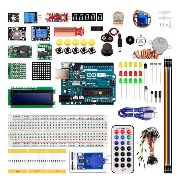 Arduino Uno R3 Starter Kit Upgraded Version with 1602 LCD Server Motor LED Relay RTC Electronic Kit