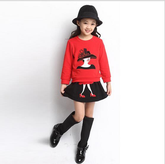 Retail 2017 New  Kids Girls Clothing Set Cartoon t shirt + Dress Cotton Baby Girls Suits Set fashion Children Girl Clothes