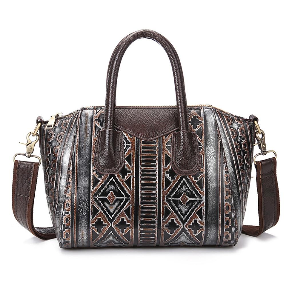 Genuine Embossed Leather Women Tote Bag Luxury Handbag New Cowhide Ladies Satchel Famous Designer Brand Shoulder