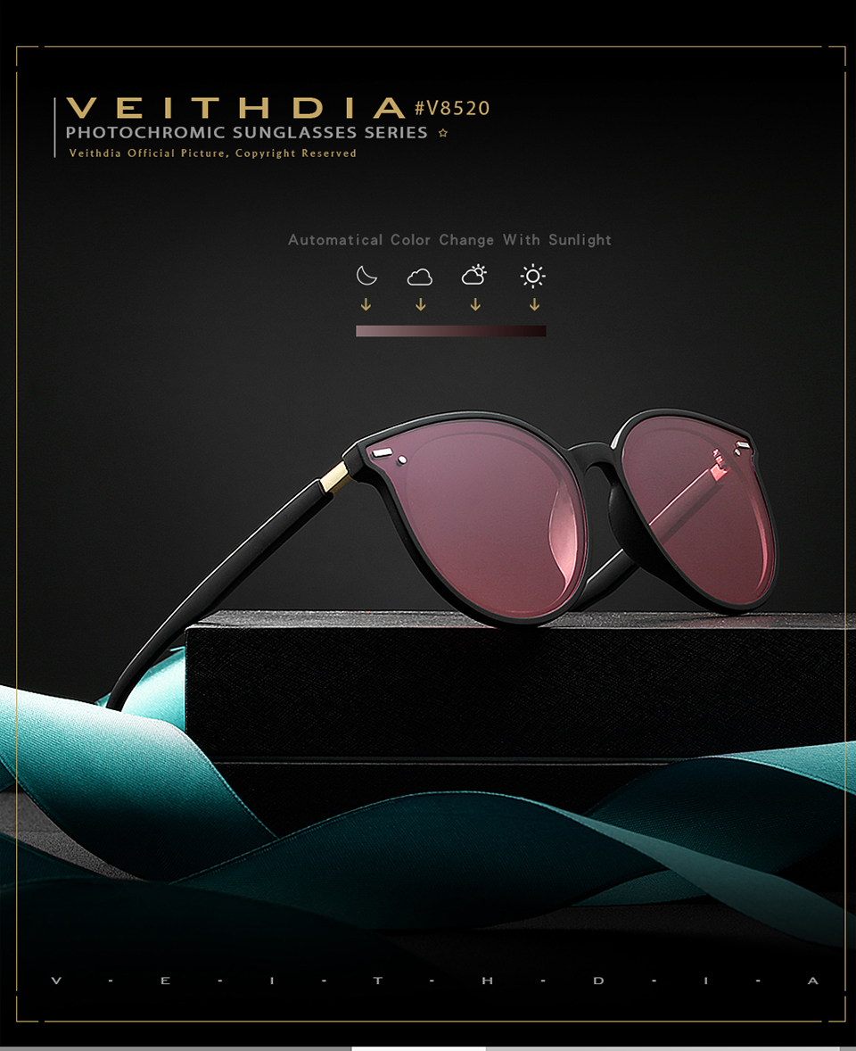 VEITHDIA Photochromic Polarized Sunglasses Vintage Day Night Sunglasses For Women Eyewear