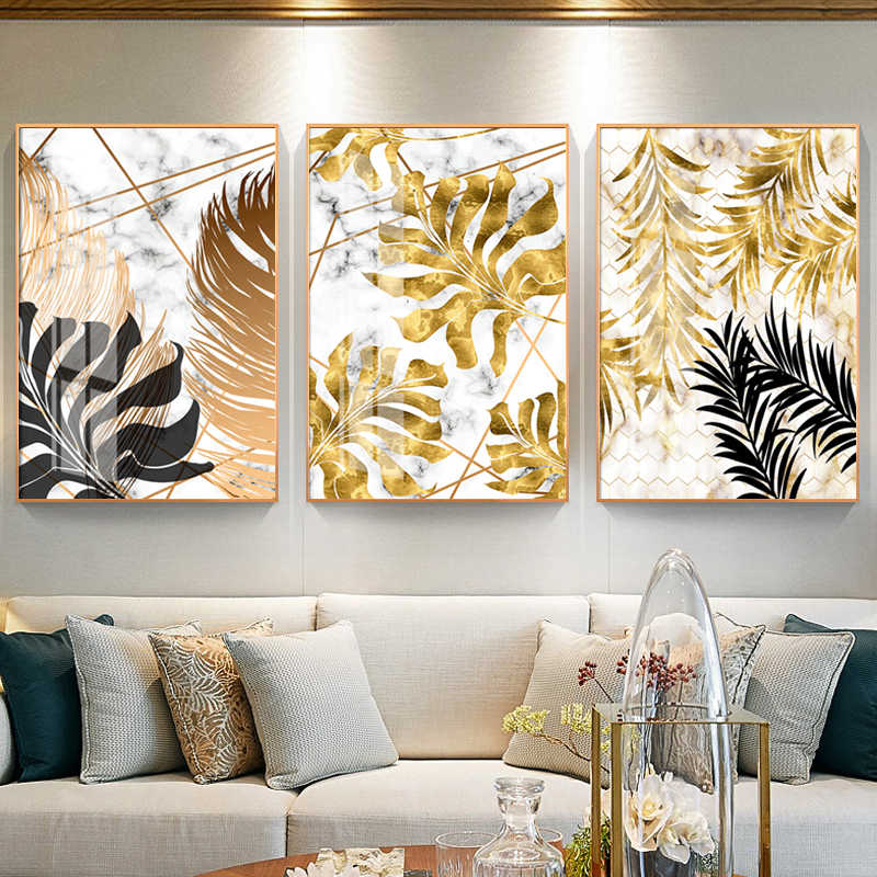 Nordic Canvas Painting Decor Plants Golden Leaf Posters and Print Modern Wall Art Pictures for Dinning Room Bedroom Decorations