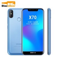 Doogee X70 Mobile Phone Android 8.1 Smarphone MTK6580A Quad Core 2GB 16GB Dual Camera 5.99 Full Screen Face ID 3G WCDMA Phone