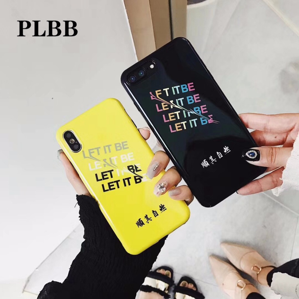 PLBB IMD Personality Characters Let it Be Silicone Phone Case For iPhone 6 6S 7 8 Plus X Soft TPU Mobile Phone Back Cover Coque ...