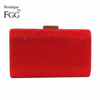 Boutique De FGG Luxury Red Rhinestone Clutch Women Crystal Purse Evening Bags Wedding Party Cocktail Dinner