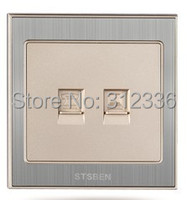 Free Shipping Wall Socket Computer And Telphone Socket Computer Outlet Network Cable Socket Champagne Gold Color