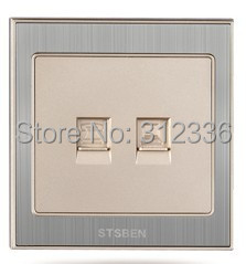 free shipping wall socket computer and Telephone socket  Computer Outlet network cable socket champagne gold color high quality double computer network socket large panel 86type wall socket simple classic white and gold