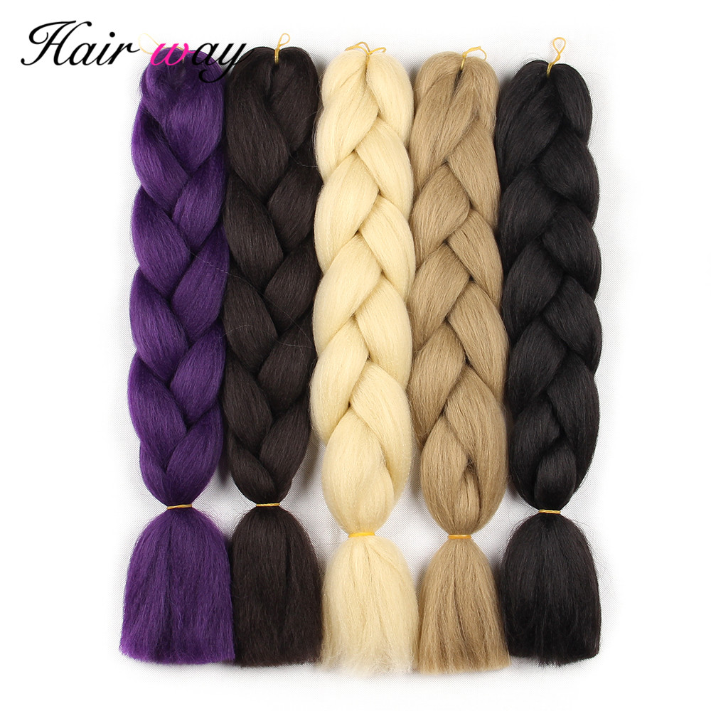 Hair Way Ombre Kanekalon Braiding Synthetic Hair Crochet Braid Hair Extensions 100g Jumbo Braids Boxing Hair Dreadlocks Bulk ...
