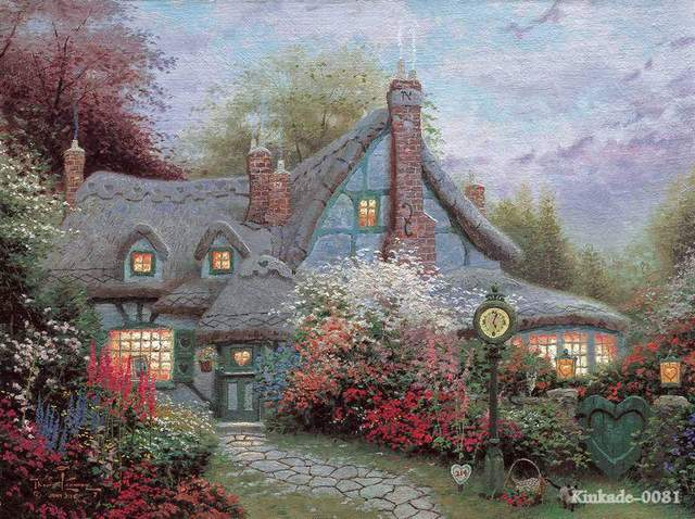 Thomas kinkade prints of oil painting sweetheart cottage - Home interiors thomas kinkade prints ...
