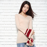 2017 Spring And Autumn V Neck Sweater Female Slim Design Pullover Sweater Women Flare Sleeve Knitted