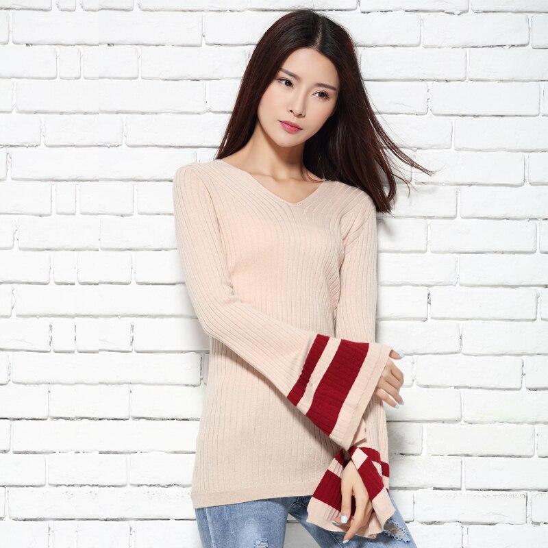 2017 la primavera y el otoño con cuello en v suéter femenino delgado suéter del