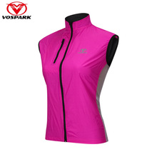 VOSPARK Women's Cycling Vest Reflective Windproof Waterproof Running Jacket Sleeveless Bicycle Bike Outdoor Sports Clothing