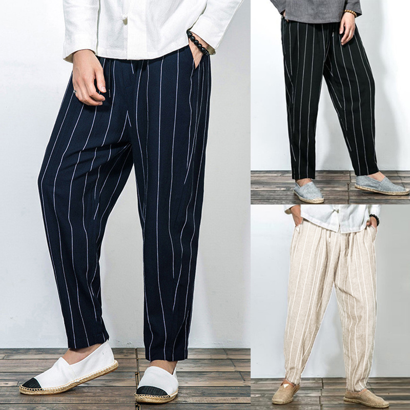 INCERUN Men's Casual Pants Stripe Pockets Baggy Joggers Fashion Trousers Male Cotton Streetwear Retro Long Pants Plus Size 2020