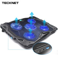 TeckNet Quiet Notebook Laptop Cooling Pad Stand With 5 Fans 1500RPM Blue LED USB Laptop Cooler