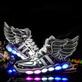 2017 new kids niños niñas cargador usb led light shoes alta superior luminoso sneakers lace up casual shoes unisex deportes de los niños