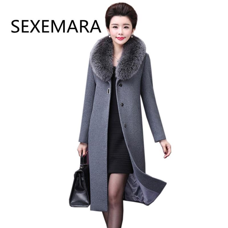 2017new женщин среднего возраста Длинные шерстяное пальто зима высокое качество меховой воротник зима Куртки и Пальто для будущих мам Элегант...