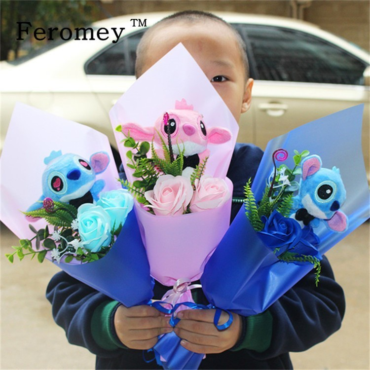 Drop Shipping Lilo Stitch Bouquet Plush Doll Toys Cute Lilo Stich Plush Bouquet With Fake Flower Wedding Birthday Gift