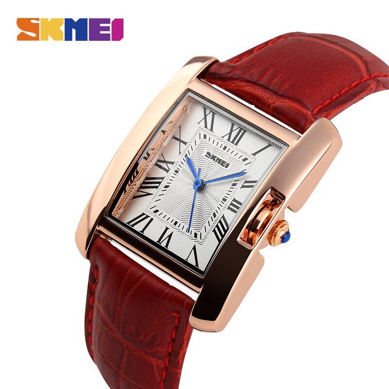 SKMEI моды Повседневное часы Для женщин роскошный кожаный ремешок 30 М Водонепроницаемость Rosegold сплава случае женская обувь 1085