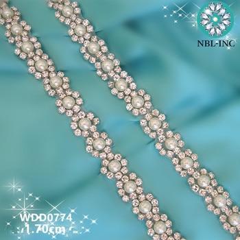 (10 yards )Wholesale bridal hand beaded sewing crystal rhinestone pearl applique trim iron on for wedding dresses belt WDD0774