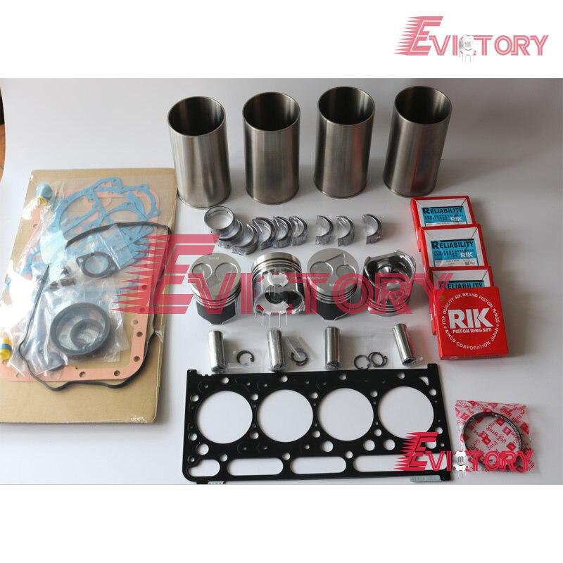 Para KUBOTA V2203 V2203M motor reconstruir kit forro do cilindro de Pistão + anel junta completo rolamento