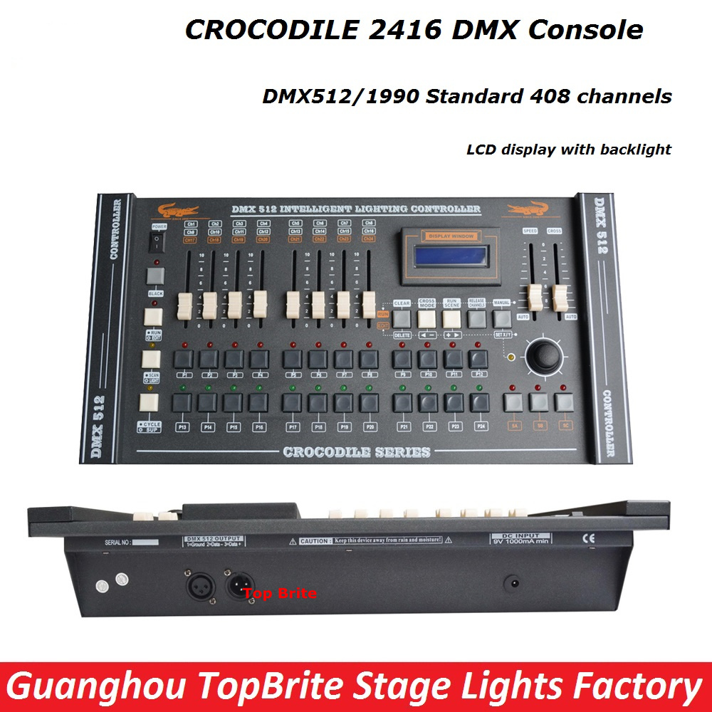 Free Shipping 1Pcs CROCODILE 2416 Disco DMX Controller DMX 512 DJ DMX Console Equipment For Stage Party Wedding Event Lighting hot sell 240 disco dmx controller dmx 512 dj dmx console equipment for stage wedding and event lighting dj controller