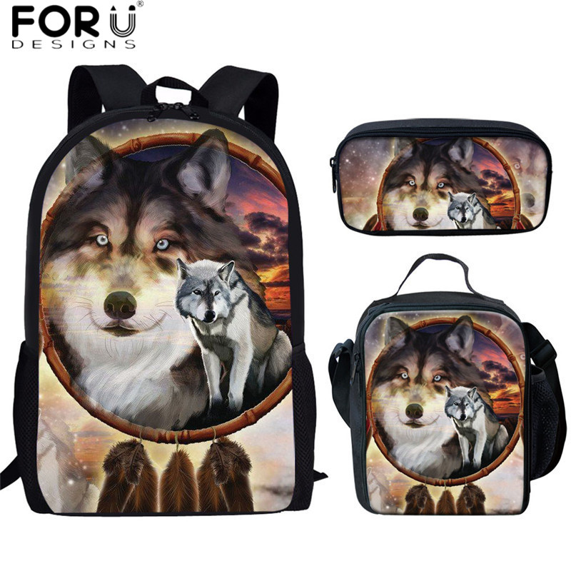 FORUDESIGNS Animal Wolf 3D Print School Bags Teen Boys Large Capacity School Backpacks Softback High Quality 3pcs/set Schoolbags