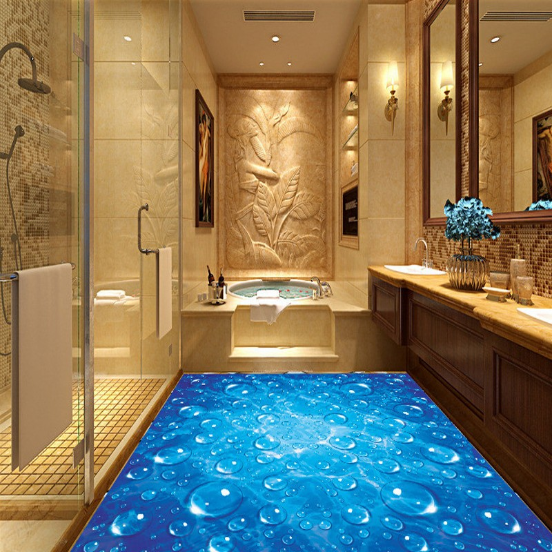 Free shipping blue water drops wave 3d floor painting for Bathroom floor mural sky