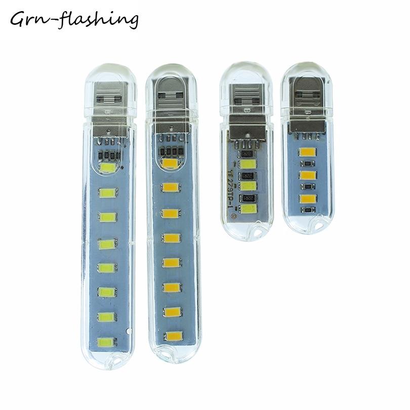 1PCS 3LEDS 8LEDS Mini USB Night Light Portable Desk Book Reading Lamp For PC Laptops Computer Mobile Power Camping Night Bulb