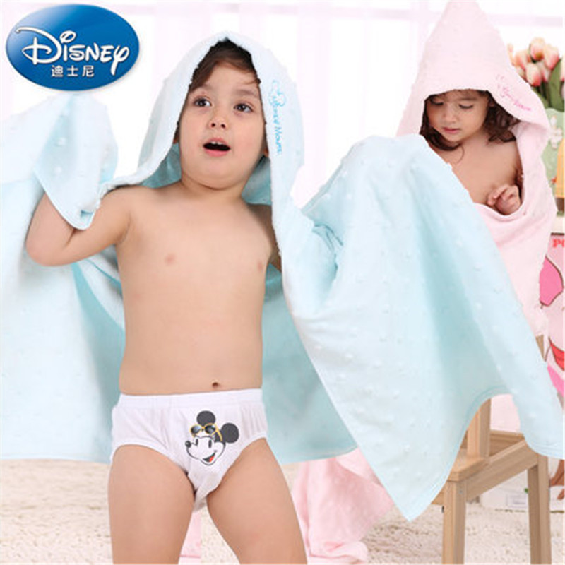 Disney Solid Childrens Bath Towels Newborn Blanket Bedding Mickey Minnie Cartoon Bebe Bathrobe Hooded Bathing Towel baby stuff