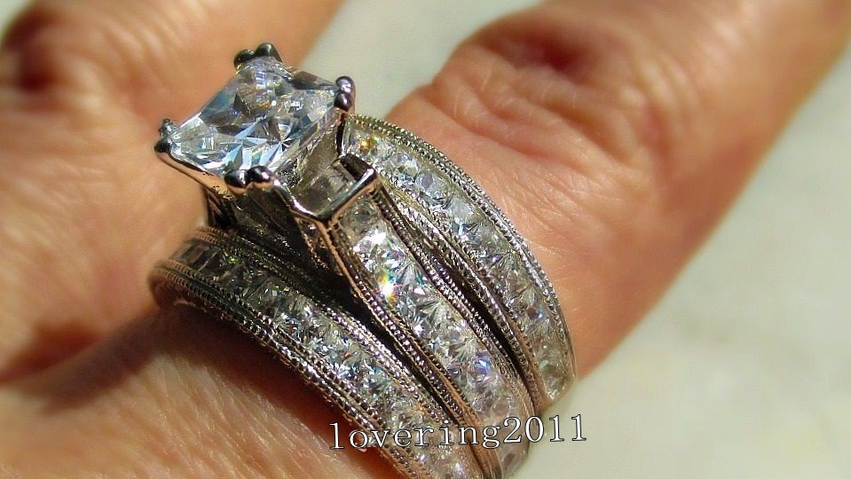 choucong Zaroka Princess cut 6 mm Stone 5A cirkon kamen 14KT belo - Modni nakit - Fotografija 2