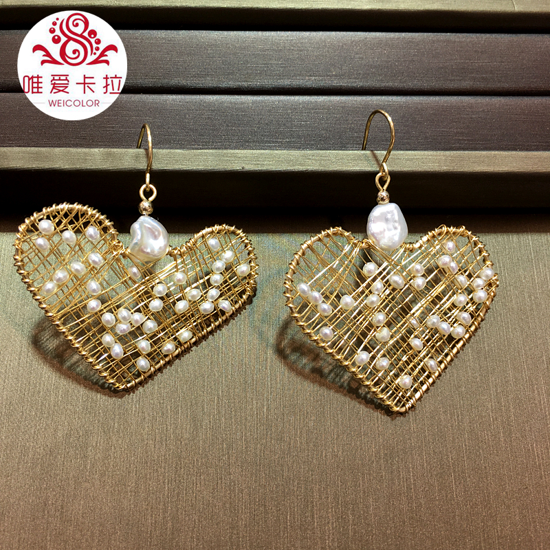 WEICOLOR DIY ! Good Quality Gold Mixed Newest Design Heart Shaped Handmade Natural White Freshwater Earrings .