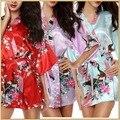 Mulheres Pijamas Robes Sexy Impressão das Mulheres Meia Luva de Cetim Kimono Robe de Cetim de Poliéster Sono Salão Robes Vestaglia