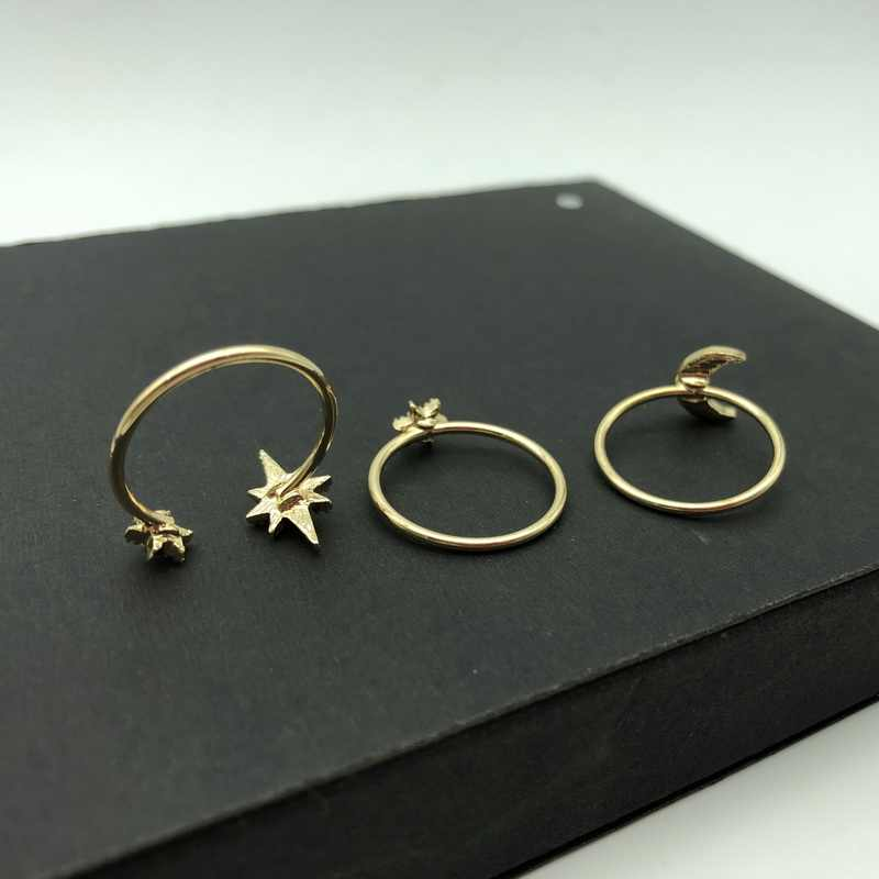 F.J4Z ใหม่ชุดผู้หญิงแฟชั่นสี Moon ดาว Rhinestone แหวนนิ้วมือเครื่องประดับ anillos de mujeres