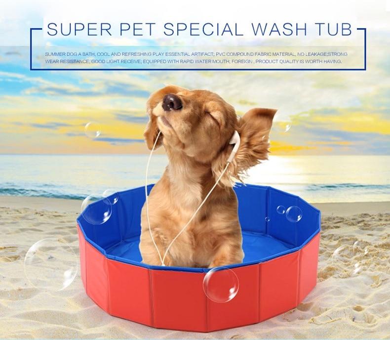 Foldable Dog Swimming Pool Large Capacity Pet Cat Dog Bathtub PVC ...