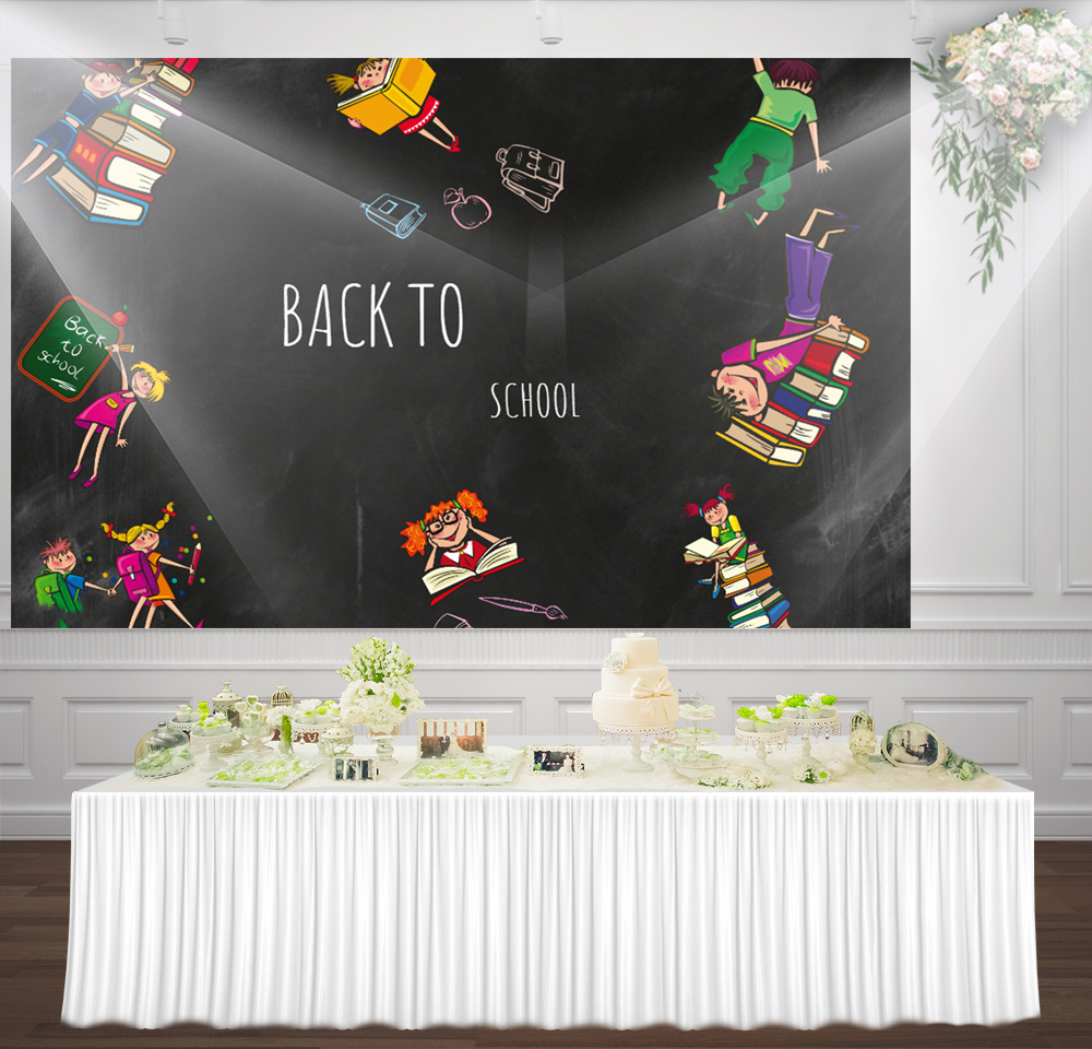 HUAYI back to school blackboard and books kids Childrens Portrait 1st Day of School Photography Backdrop photo Background sm-184