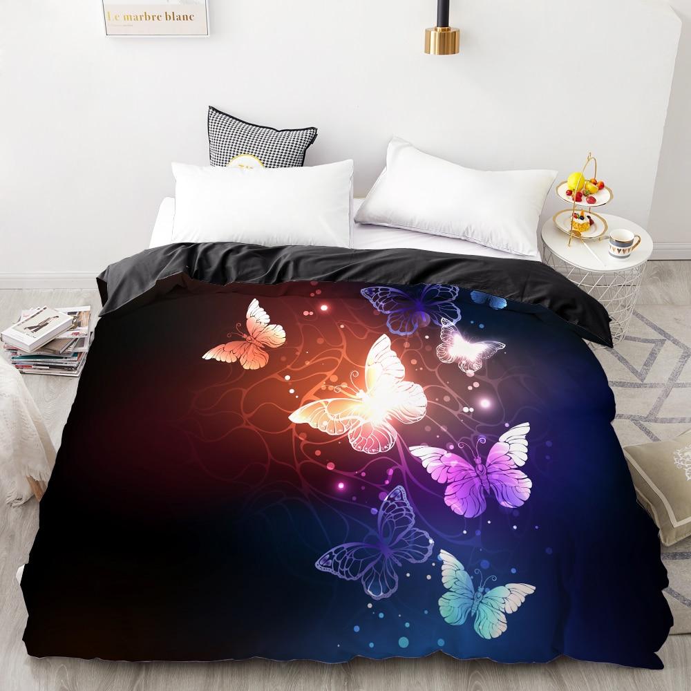 3D HD Digital Printing Custom Duvet Cover,Comforter/Quilt/Blanket Case Queen King Bedding 200x200,Bedclothes Butterfly On Black