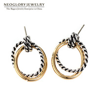 Neoglory Fashion Double Hoop Earrings Allergy Free Jewelry Silver Gold Color Plated For Women New Christmas
