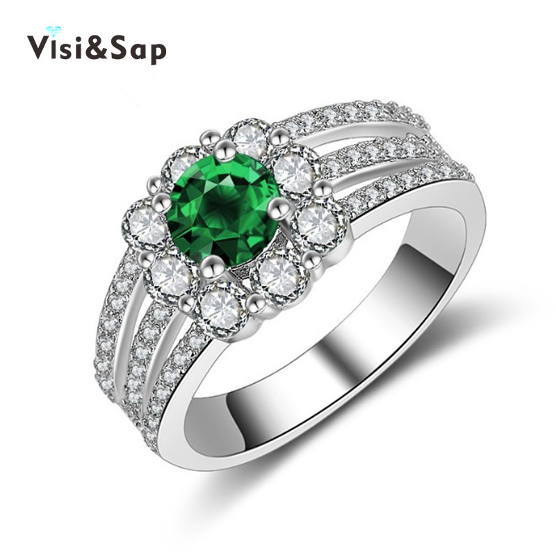 emerald green ring white gold plated wedding anel gift