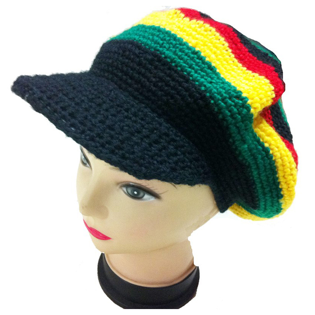 af41725c4bc6c Malha Jamaicano Reggae Rasta Chapéu de Aba Plana Cap Viseira Boina de Crochê  Artesanal Dança Do