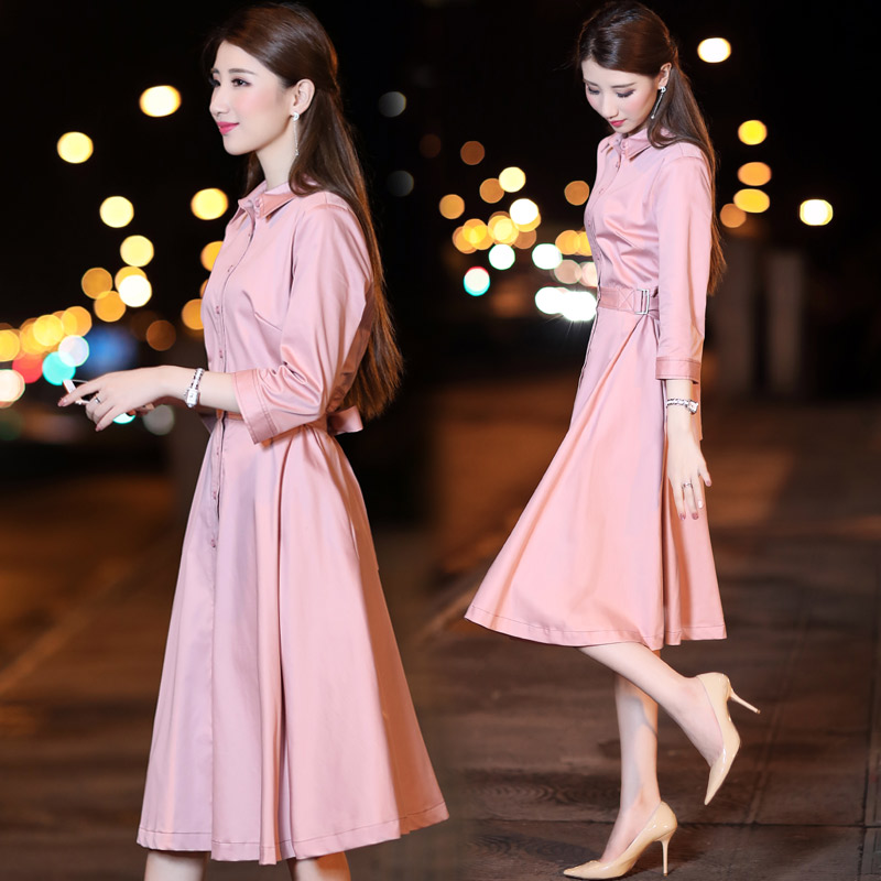 Fashion 2018 Spring and Autumn New Womens Korean temperament high waist Slim A word dress pink long single-breasted TB1888