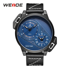 цена на WEIDE luxury leather strap men Analog Quartz Sport  fashion casual Water Resistant Wrist Watch Multiple Time Zone Genuine watch