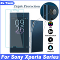 Ultra thin TPU Soft Case For Sony Xperia XZ XA X Compact E5 Z5 Z4 Z3 Z2 Z1 Z M5 M4 Camera Lens Front Back Tempered Glass Film