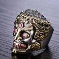 Hechos a mano 925 anillo de calavera de plata Vintage sterling Silver esqueleto punky anillo anillo de hombre del anillo
