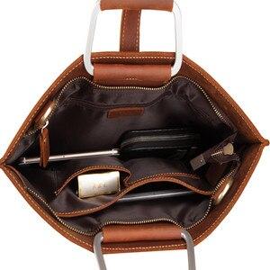 Image 4 - Haute qualité Vintage cheval fou en cuir Document sac mode Horizontal A4 hommes sac à main en cuir véritable mince mallette