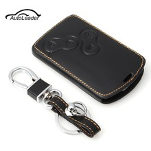 Leather Key Case Cover Holder with Keychain For Renault Koleos Laguna 2 3 Megane 1 2 3 Sandero Scenic Captur Clio Duster Fluence