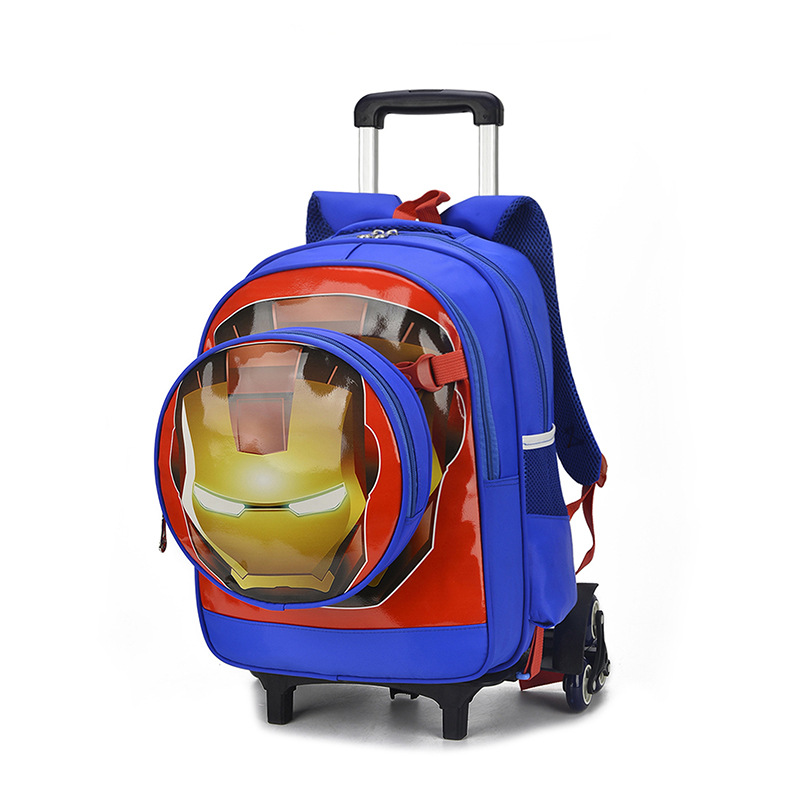 4faa5c84a5b0 US $36.19 30% OFF|Spider man luggage cartoon school bag students Climb  stairs rolling suitcase Iron Man Children travel backpack Kids shoulder  bag-in ...